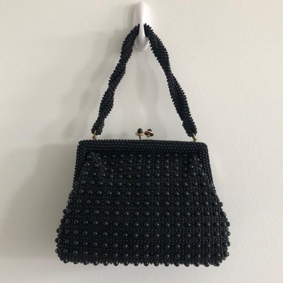 Vintage Handbags - Vintage black beaded lobster claw purse